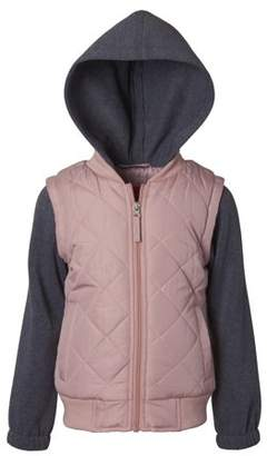Pink Platinum 2Fer Hooded Quilted Jacket with Fleece Sleeves (Big Girls)