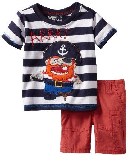 Nannette Baby-boys Infant 2 Piece Pirate Short Set