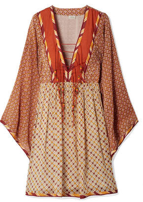Talitha - Jasmin Lace-up Printed Chiffon Dress - Orange