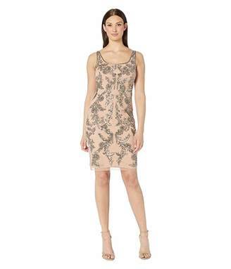 Adrianna Papell Beaded Mesh Short Cocktail Dress