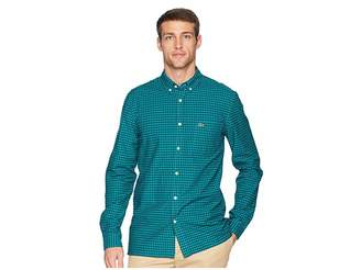 Lacoste Long Sleeve Oxford Gingham Button Down Collar Regular