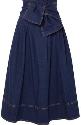 Ulla Johnson Virgil Belted Denim Midi Skirt - Dark denim