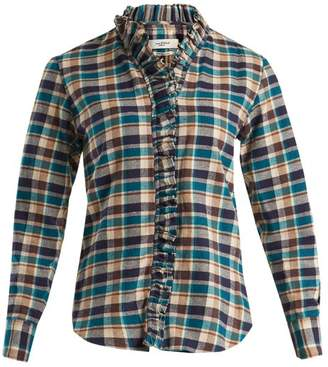 Etoile Isabel Marant Wendy Ruffle Trimmed Checked Cotton Shirt - Womens - Multi