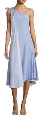 Theory Liberik Striped One-Shoulder Dress