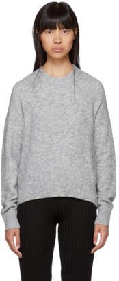 3.1 Phillip Lim Grey Inset Shoulder High Low Sweater