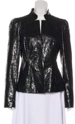 Gucci Leather Mock Collar Jacket