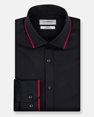 Le Château Mixed Media Cotton Sateen Slim Fit Shirt