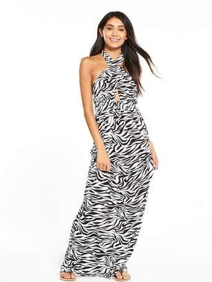 Very Keyhole Halter Neck Jersey Printed Beach Maxi Dress - Zebra