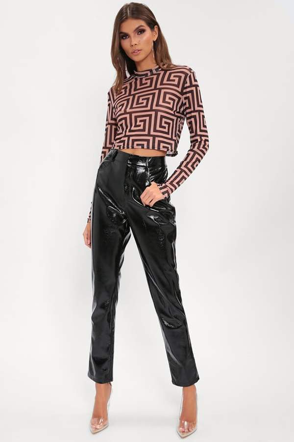Isawitfirst Black Vinyl Skinny Trousers