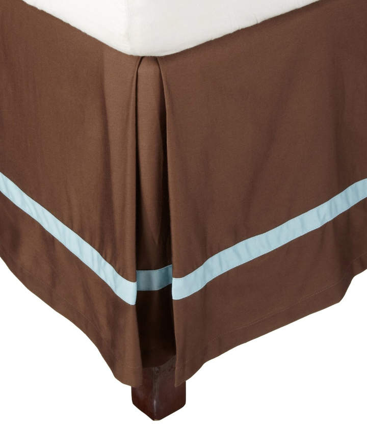 Mocha & Sky Blue Hotel Collection Cotton Bed Skirt