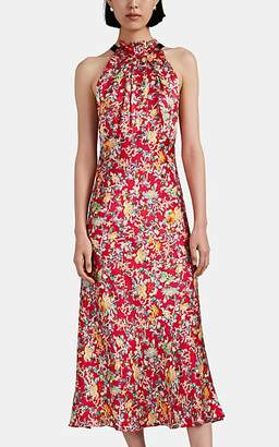 Saloni Women's Michelle Floral Silk High-Neck Dress - Red