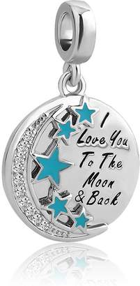 Pandora CoolJewelry Jewelry I Love You To The Moon And Back Clear Crystal Moon Beads Fit Bracelet & Necklace Pendant