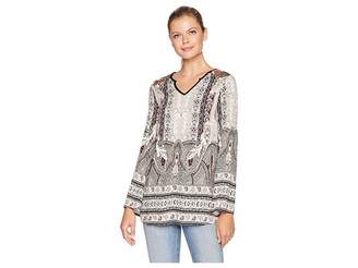 Tribal Bell Sleeve Blouse with Combo Yoke