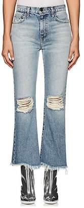 Current/Elliott Women's The High Waist Kick Distressed Flared Jeans - Lt. Blue