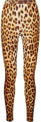 Moschino Leopard-print Stretch-knit Leggings - Brown