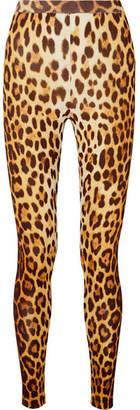 Moschino Leopard-print Stretch-knit Leggings - Brown