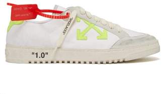 Off-White Off White Logo Applique Distressed Canvas Trainers - Mens - White Multi