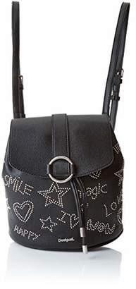 Desigual Bols_galaxy Mini Backpack, Women's Backpack Handbag, Black (Negro), 10.6x24x22.3 cm (B x H T)
