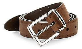 Brunello Cucinelli Men's Perforated Leather Belt