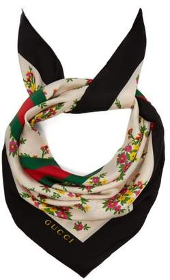 Gucci Floral And Web Stripe Print Silk Twill Scarf - Womens - Green