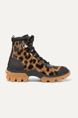 Moncler Helis Leather-trimmed Leopard-print Calf Hair Ankle Boots - Leopard print