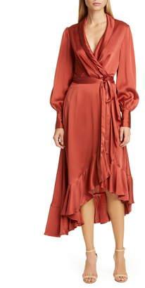 Zimmermann Espionage Long Sleeve Silk Wrap Dress