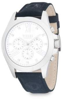Versace Stainless Steel Chronograph Leather-Strap Watch