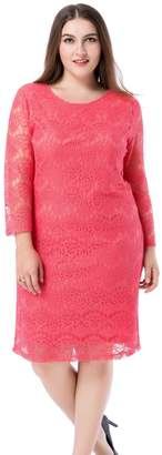 Chicwe Women's Plus Size Lined 3/4 Sleeves Lace Dress 18