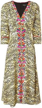 Saloni tiger print flared dress