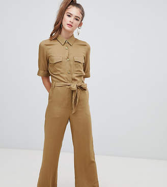 Monki utility belted jumpsuit in khaki