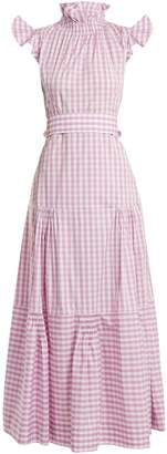 TEIJA Cap-sleeved gingham cotton dress