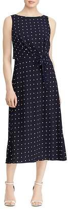 Lauren Ralph Lauren Sleeveless Dot-Print Dress