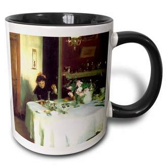 3dRose The Breakfast Table by John Singer Sargent - Two Tone Black Mug, 11-ounce