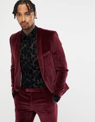 Twisted Tailor super skinny suit jacket in burgundy velvet