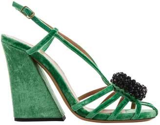 Dries Van Noten Green Velvet Heels