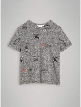 Burberry Archive Logo Print Jersey T-shirt , Size: 6Y, Grey