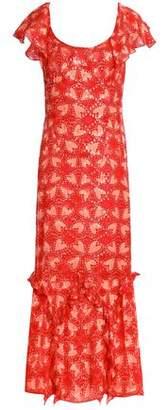 Anna Sui Metallic Printed Silk-Blend Fil Coupé Gown