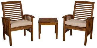 Walker Edison Acacia Wood Patio 3-Piece Chair and Side Table Set