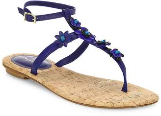 Oscar de la Renta Women's Flower Leather T-Strap Sandals