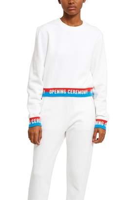 Opening Ceremony Fleece Back Terry Elastic Logo Crop Sweatshirt