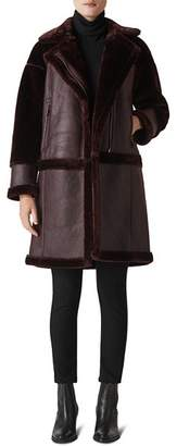 Whistles Faux-Shearling Biker-Style Coat