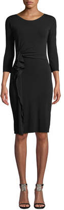 Emporio Armani 3/4-Sleeve Matte Jersey A-Line Dress w/ Ruching Detail