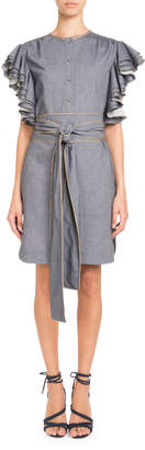Pascal Millet Heavy-Ruffle Sleeveless Belted Chambray Dress w\/ Golden Piping