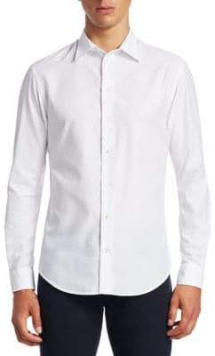 Emporio Armani Tonal Chevron Button-Down Shirt