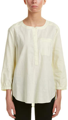 NYDJ Pleated Back Linen-Blend Blouse