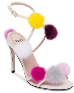 Fendi Mink Fur Pom-Pom Sandals