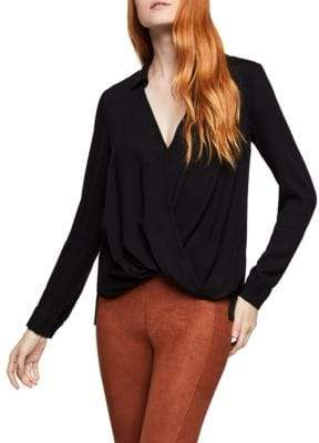 BCBGeneration Deep V Surplice Blouse