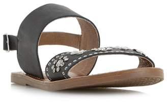 Dune Black 'Luma' Slingback Stud And Diamante Flat Sandals
