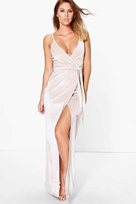 boohoo Pia Velvet Wrap Tie Maxi Dress