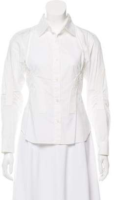 Issey Miyake Ruched Long Sleeve Blouse